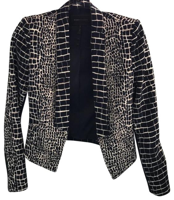 BCBGMAXAZRIA Chic Animal Print Fitted Navy and Ivory Blazer Image 0