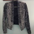 BCBGMAXAZRIA Chic Animal Print Fitted Navy and Ivory Blazer Image 7