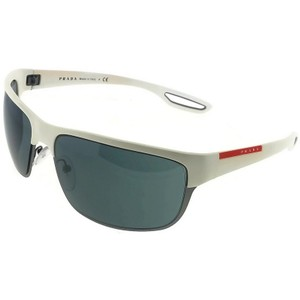 Prada Sports PS50QS-TWK7W1 Rectangle Men's White Frame Grey Lens Sunglasses