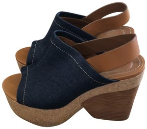 See by Chloé Denim & cork with wood wedge heel & brown leather sling back Sandals
