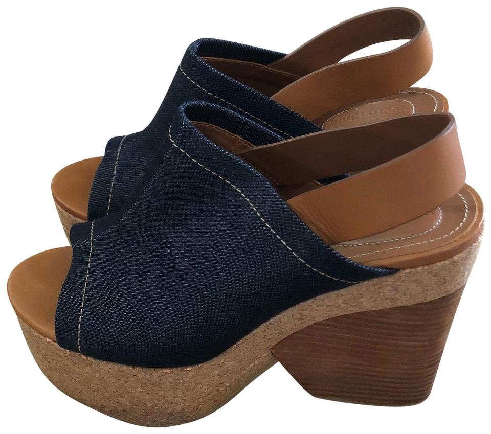5bf279ebc5a See by Chloé Denim   Cork with Wood Wedge Heel   Brown Leather Sling Back  Edith Platform Sandals