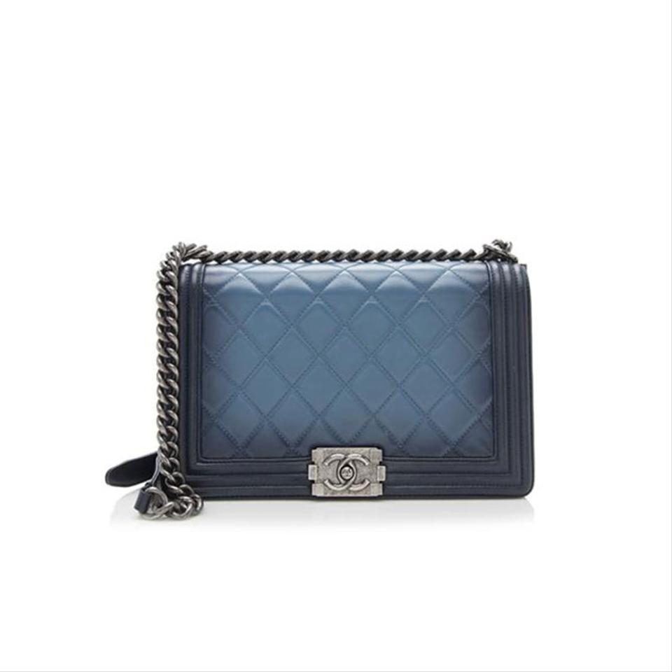 1f1312e318c1 Chanel Boy Ombre Quilted Medium Blue Lambskin Leather Cross Body Bag ...