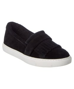 Kenneth Cole Faux Fur Water-resistant Slip-on Suede Black Flats