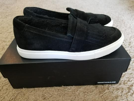 Kenneth Cole Faux Fur Water-resistant Slip-on Suede Black Flats Image 1