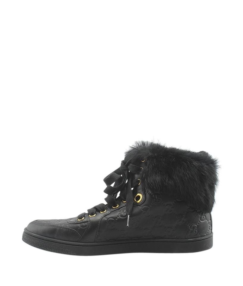 7e2d2158a22 Gucci Black Guccissima Leather Fur High-top Sneakersx 8.5(145492) Boots  Booties