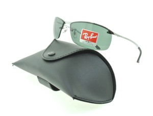 0effee8b6ee Ray-Ban Ray Ban RB 3183 004 71 Gunmetal   Green Aviator Wrap Sunglasses