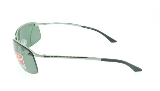 Ray-Ban Ray Ban RB 3183 004/71 Gunmetal / Green Aviator Wrap Sunglasses Image 3