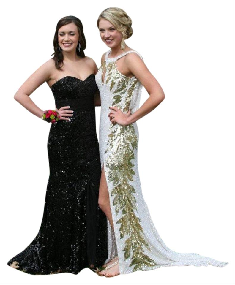 Mac Duggal Couture Gold and White One Of A Kind Long Formal Dress ...