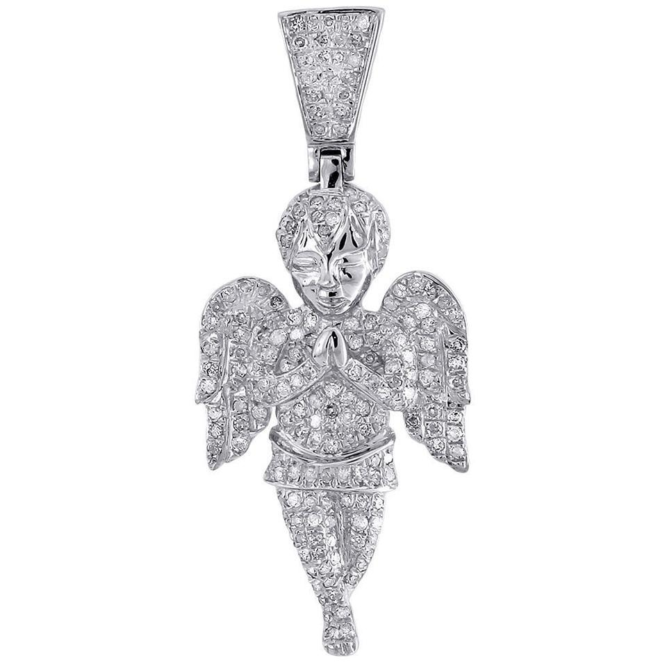 Jewelry for less white gold angel diamond pendant 10k 3d baby face jewelry for less angel diamond pendant 10k white gold 3d baby face charm jesus 125 ct aloadofball Image collections
