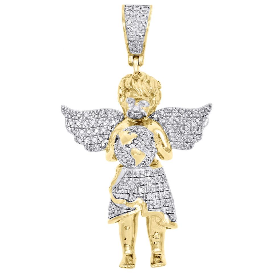 Jewelry for less yellow gold 10k diamond angel pendant world map jewelry for less 10k yellow gold diamond angel pendant world map globe charm 040 ct gumiabroncs Image collections