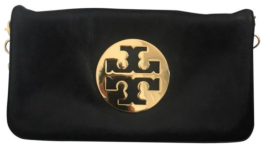 Tory Burch Logo Clutch With Chain Handle Black And Gold