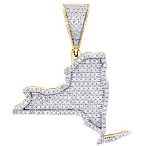 Jewelry For Less 10K Yellow Gold Diamond New York Empire State Map Pendant Charm .63 CT