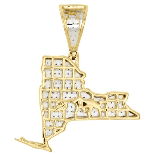 Jewelry For Less 10K Yellow Gold Diamond New York Empire State Map Pendant Charm .63 CT Image 2