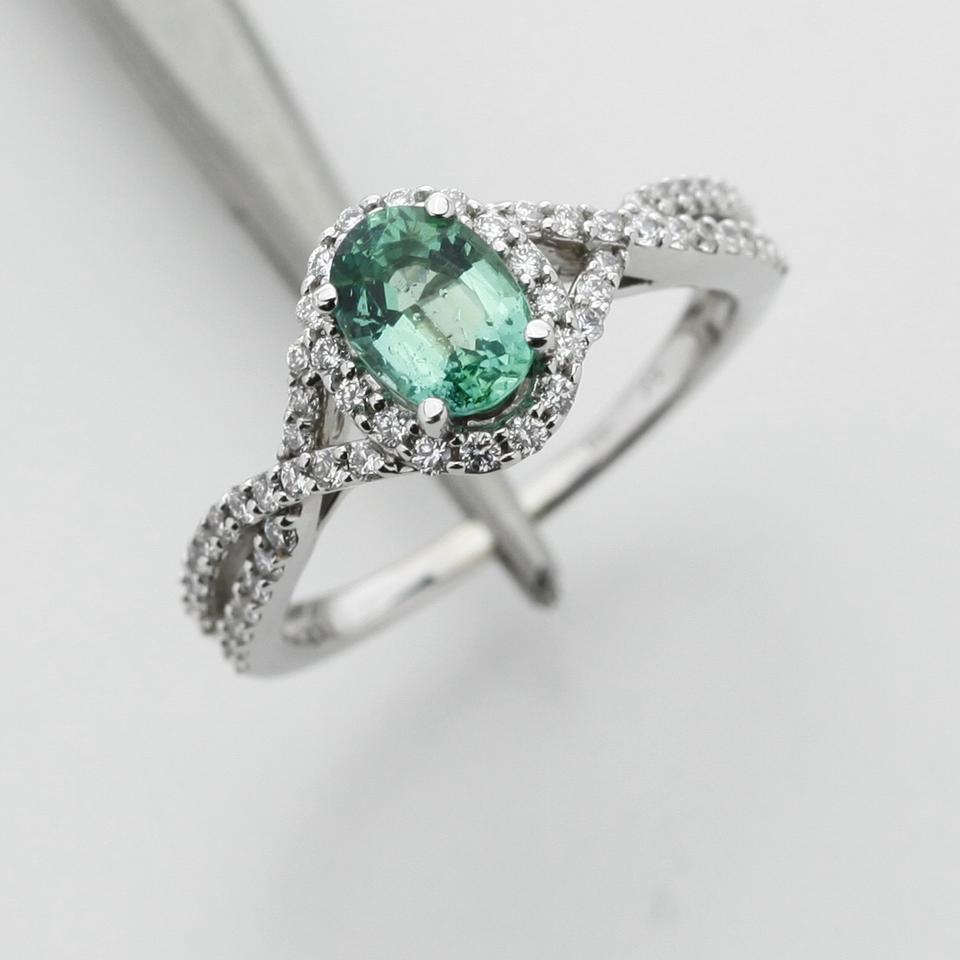 green silver clear 82ct emerald halo in 14k white gold. Black Bedroom Furniture Sets. Home Design Ideas