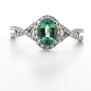 Green Silver Clear Oval Emerald Diamond Halo In 14k White Gold Engagement Ring