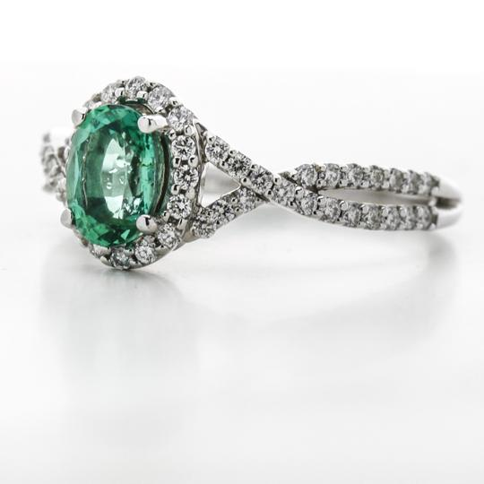 Green Silver Clear Oval Emerald Diamond Halo In 14k White Gold Engagement Ring Image 1