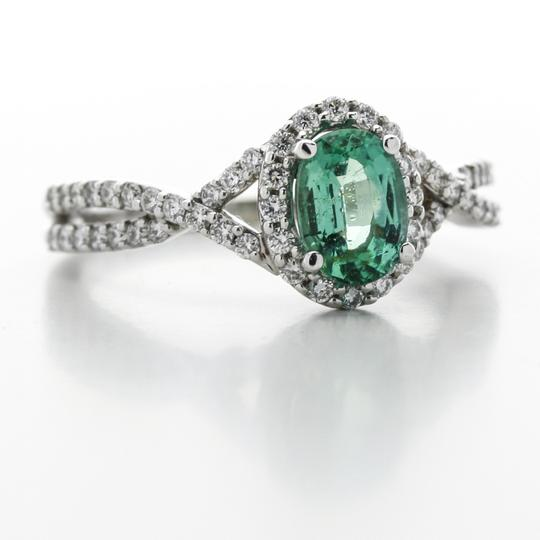 Green Silver Clear Oval Emerald Diamond Halo In 14k White Gold Engagement Ring Image 2