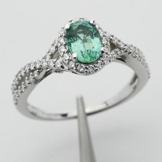 Green Silver Clear Oval Emerald Diamond Halo In 14k White Gold Engagement Ring Image 3