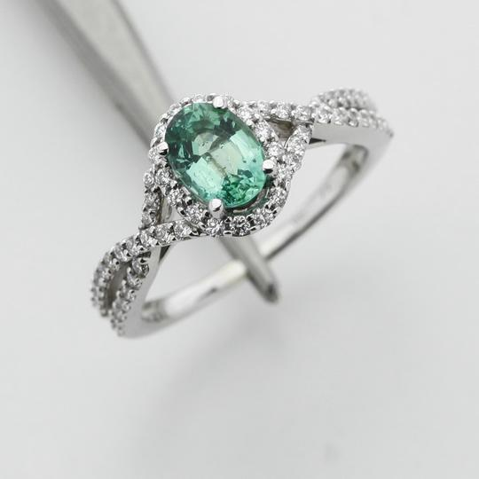 Green Silver Clear Oval Emerald Diamond Halo In 14k White Gold Engagement Ring Image 4
