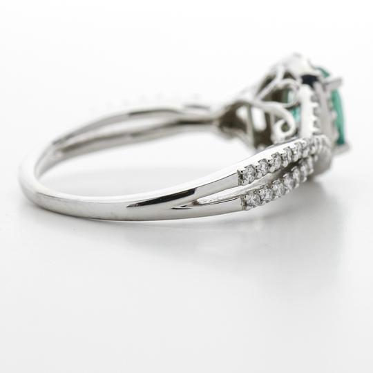 Green Silver Clear Oval Emerald Diamond Halo In 14k White Gold Engagement Ring Image 6