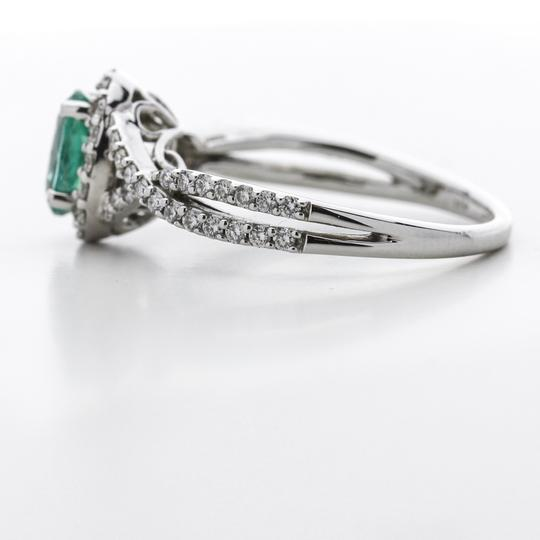 Green Silver Clear Oval Emerald Diamond Halo In 14k White Gold Engagement Ring Image 7