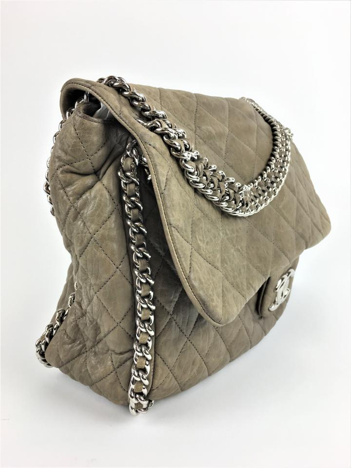d9b27fb61f9143 Chanel Washed Quilted Chain Around Maxi Flap Taupe Lambskin Leather  Shoulder Bag - Tradesy
