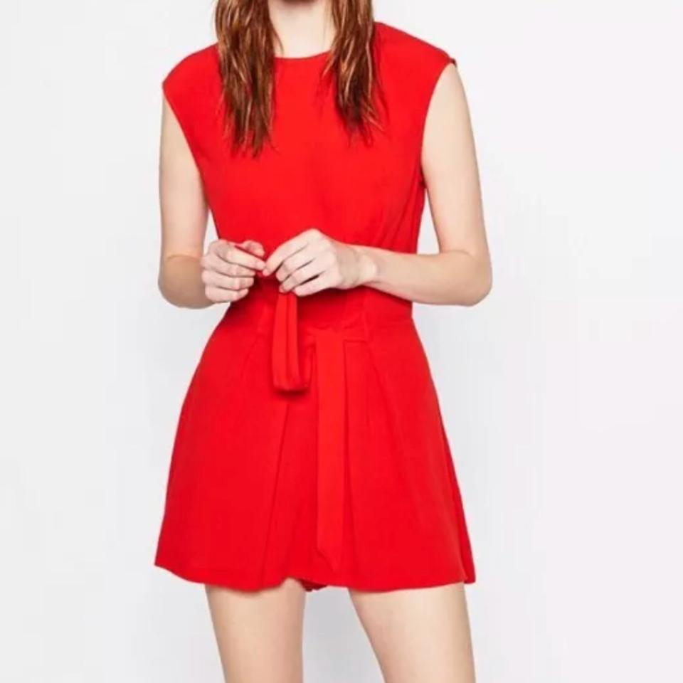 9e2228a03a8 Zara Red Short Playsuit Crossover Back with Buttons Romper Jumpsuit -  Tradesy