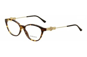 Versace New Versace Eyeglasses VE3215 5148 Havana Gold Frame Demo Optical Lens