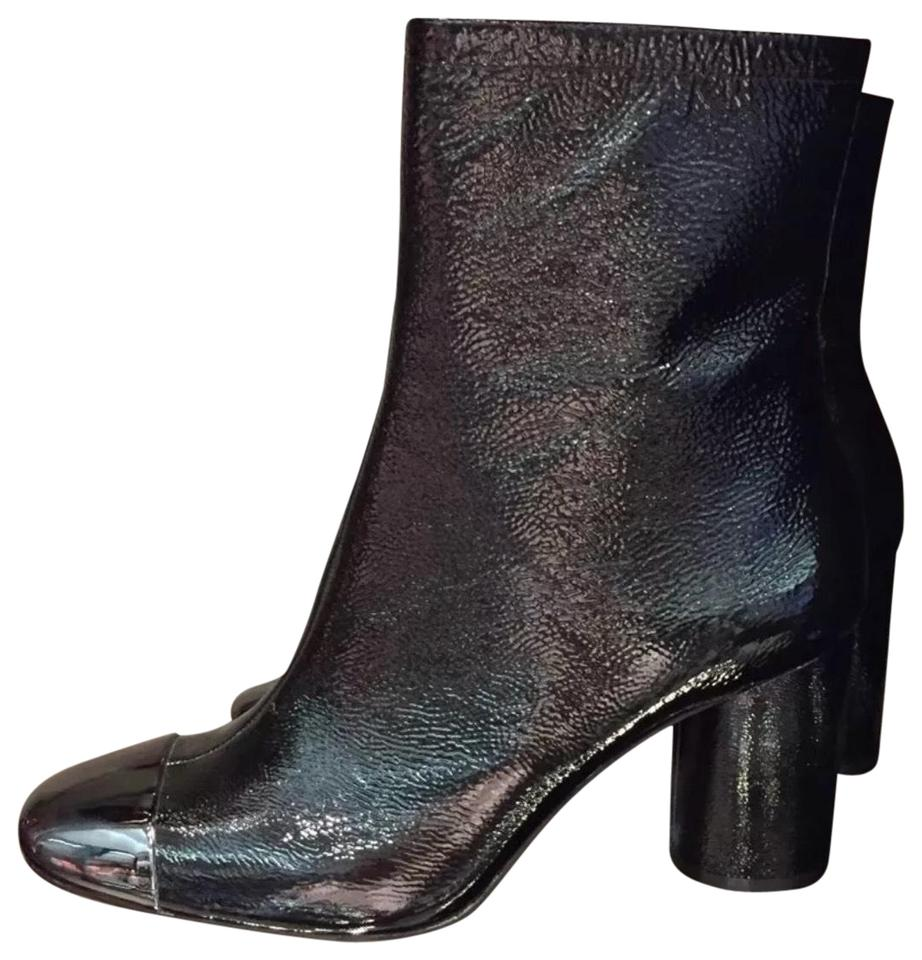 Zara Black Toe Leather Ankle with Metallic Toe Black Boots/Booties ad7624