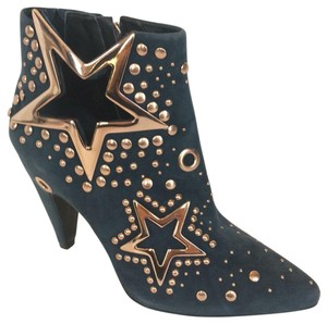 Ivy Kirzhner Suede Gold Tone Metal Detail Star Cutout Leather Teal Boots