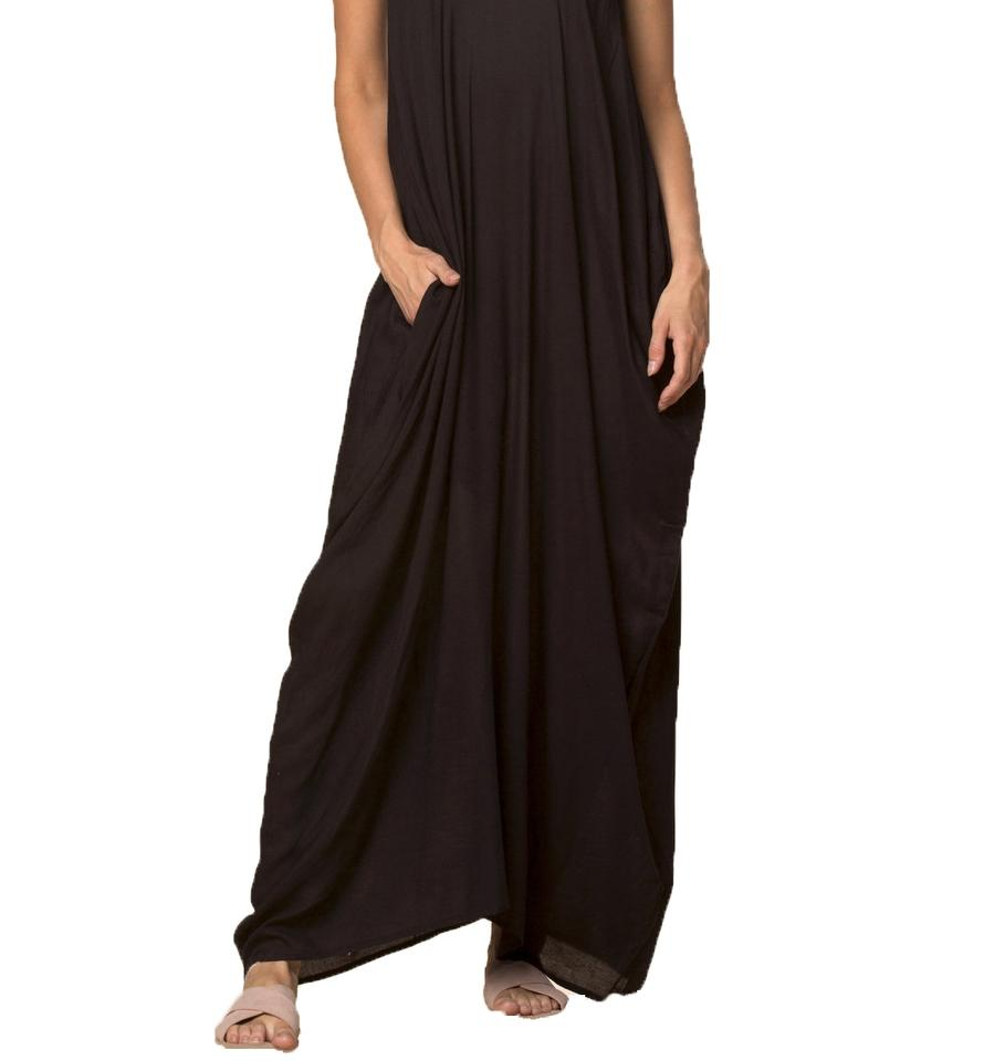 a01e4b92f2 Elan Black Spaghetti Strap Balloon Bottom with Lace Up Front Long Casual  Maxi Dress Size 10 (M) - Tradesy