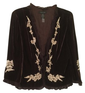 Other Soft Lined Beaded Embellished' Top Brown Velvet Jacket with Gold Embroidery/Beads