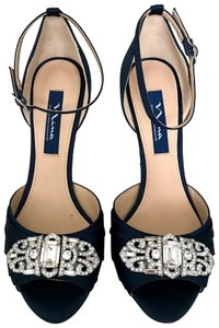 Nina Shoes Crystal Satin Leather Navy Wedges