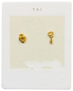 Tai tai gold key pair earring studs NWT