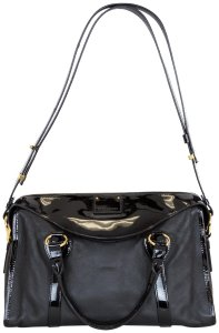 Marc Jacobs Leather Patent Leather Satchel in Black