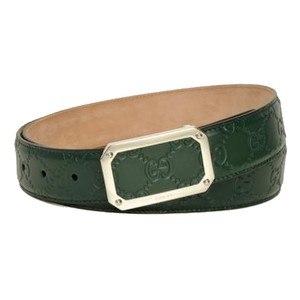 Gucci Gucci Men's Guccissima Dark Green Silver Buckle Belt 403941 Size: 38