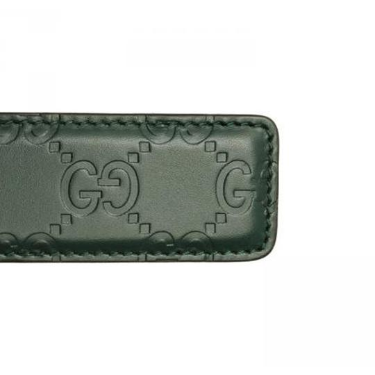 Gucci Gucci Men's Guccissima Dark Green Silver Buckle Belt 403941 Size: 38 Image 1
