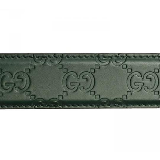 Gucci Gucci Men's Guccissima Dark Green Silver Buckle Belt 403941 Size: 38 Image 2