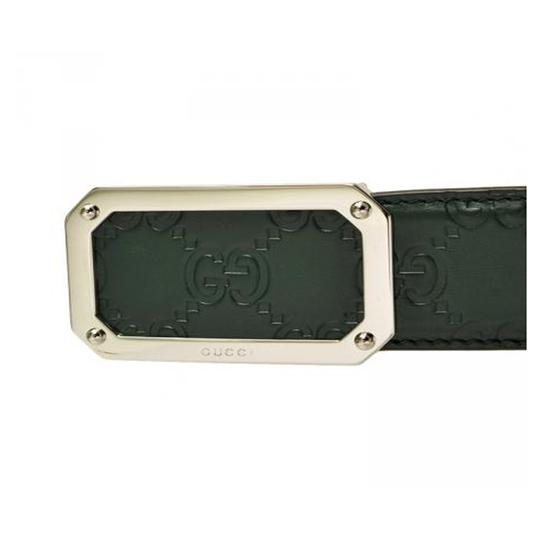 Gucci Gucci Men's Guccissima Dark Green Silver Buckle Belt 403941 Size: 38 Image 3