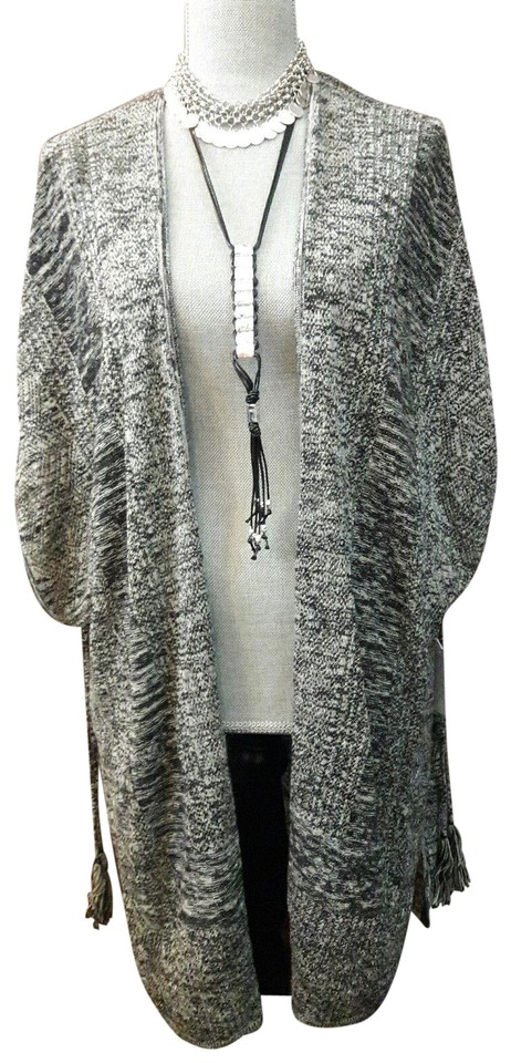 Sigrid Olsen Black White and Gray Knit Bohemian Open Cardigan ... 280eb20100b6c