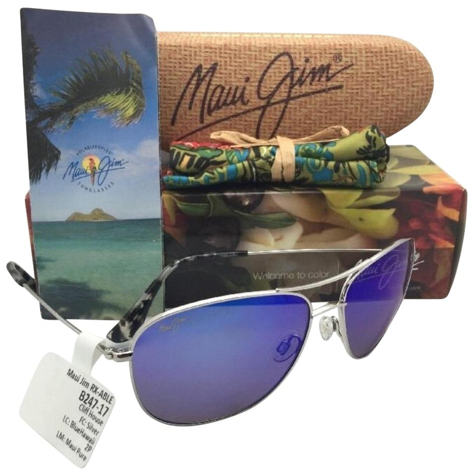 Maui Jim Polarized MAUI JIM Titanium Sunglasses CLIFF HOUSE 247-17 Silver  Blue ... 05e3fc5ee0ee