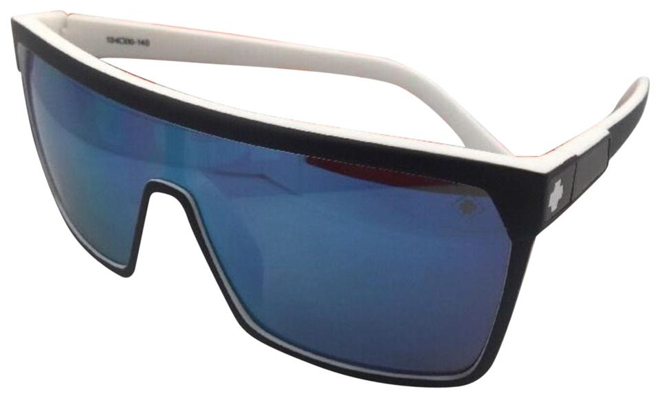 04b51e78d2 Spy New SPY OPTIC Sunglasses FLYNN WhiteWall Black on White w Blue Mirror  Image 0 ...