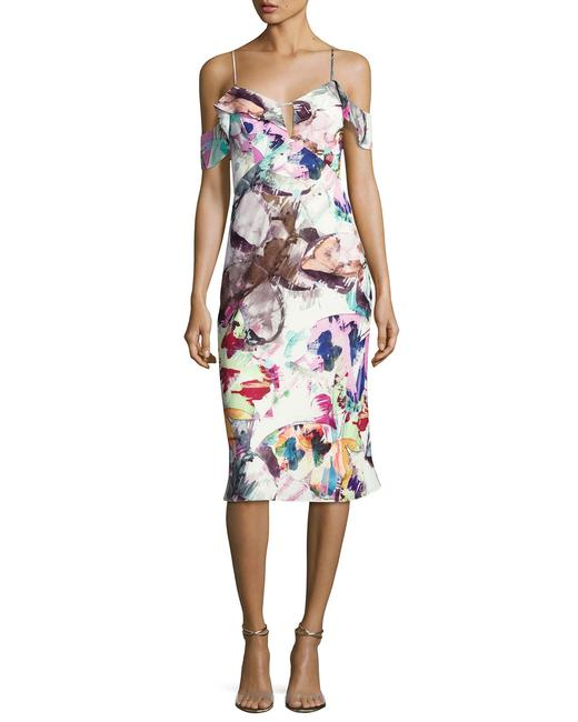 Item - Multi Color Lola Cold-shoulder Abstract Sheath Butterfly Garden Mid-length Cocktail Dress Size 6 (S)