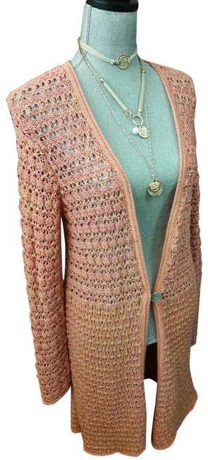 Item - Coral Peach Duster Long Sleeve Knit Bohemian Cardigan Sweater Poncho/Cape Size 10 (M)