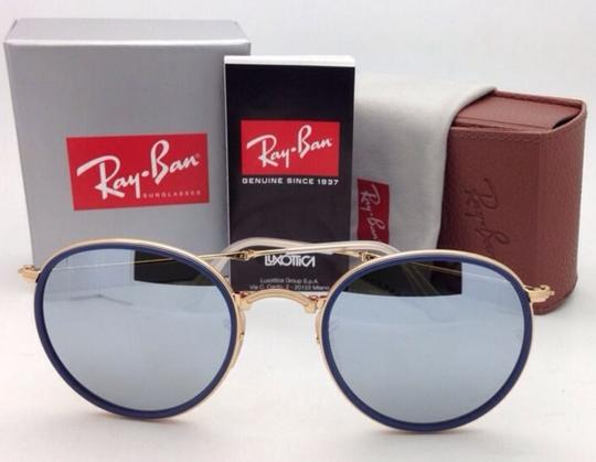 Ray-Ban RAY-BAN Folding Sunglasses 3517 001/30 51-22 Gold Blue w/Silver Mirror Image 1