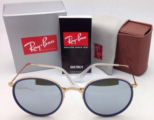 Ray-Ban RAY-BAN Folding Sunglasses 3517 001/30 51-22 Gold Blue w/Silver Mirror Image 10