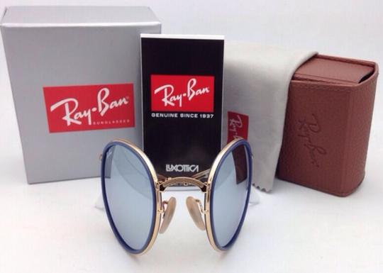 Ray-Ban RAY-BAN Folding Sunglasses 3517 001/30 51-22 Gold Blue w/Silver Mirror Image 11