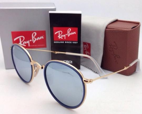 Ray-Ban RAY-BAN Folding Sunglasses 3517 001/30 51-22 Gold Blue w/Silver Mirror Image 2