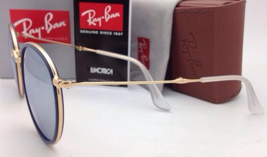 Ray-Ban RAY-BAN Folding Sunglasses 3517 001/30 51-22 Gold Blue w/Silver Mirror Image 3