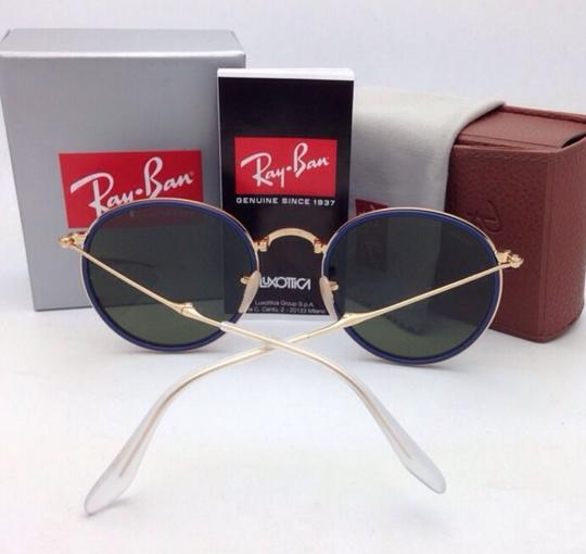 Ray-Ban RAY-BAN Folding Sunglasses 3517 001/30 51-22 Gold Blue w/Silver Mirror Image 4